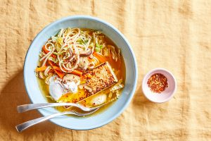 Noodle Bowl with Tofu and Poached Eggs
