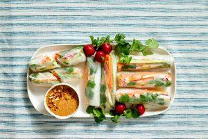 Veggie Summer Rolls with Almond Sauce
