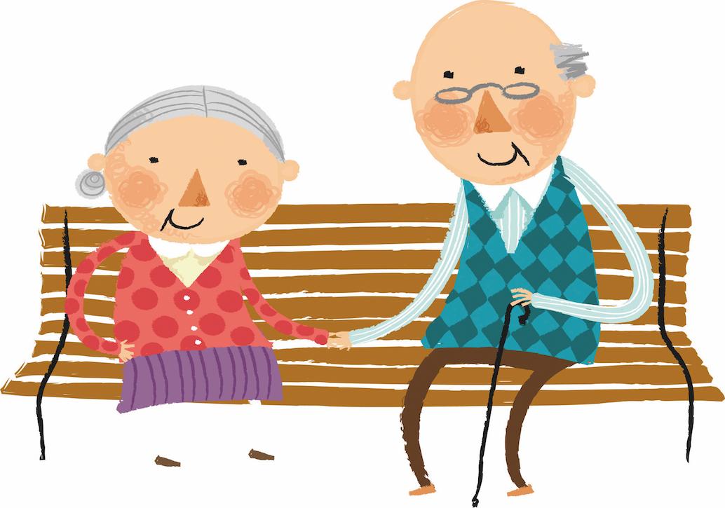 Дед и бабка на скамейке картинки