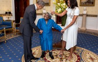 President Barack Obama and First Lady Michelle Obama greet 106-year-old Virginia McLaurin during a photo line in the Blue Room of the White House prior to a reception celebrating African American History Month, Feb. 18, 2016. (Official White House Photo by Lawrence Jackson)